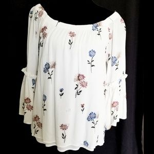 Sexy off the shoulders embroidered floral blouse